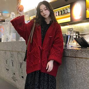 2020秋冬粗毛线毛衣女开衫外套中长款加厚宽松慵懒风针织红色