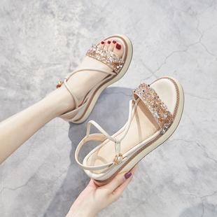 2019夏季坡跟凉鞋女松糕厚底罗马鞋仙女风高跟水钻增高防滑软