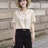 荷叶边V领雪纺衫女2019夏季韩国短袖套头衬衫OL气质薄款上衣