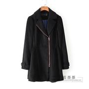 面系列秋冬装品牌女装黑色侧拉链显瘦百搭时尚经典外套