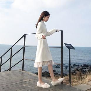 春装2019款女山本超仙法式复古裙子过膝很仙的法国小众连衣裙秋冬