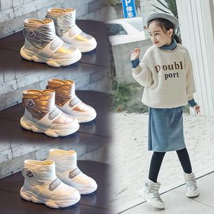 儿童加绒加厚雪地靴2018冬季女童鞋棉鞋男童防水短靴子中大童