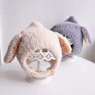 可爱兔耳朵幼婴儿童男女宝宝护耳套头帽子秋冬季保暖潮针织帽