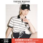 TeenieWeenie小熊polo领条纹学院风短袖T恤女2021夏短款上衣