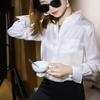 轻奢GAO阶 摩登家 白色真丝提花缎衬衫女 宽松气质桑蚕丝衬衣