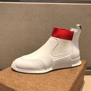 欧洲站男鞋秋冬季真皮厚底白色高帮鞋男套脚英伦马丁短靴潮鞋