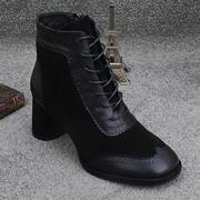 2018秋冬方头粗跟磨砂真皮中跟加绒时尚高跟短靴防水台女靴子