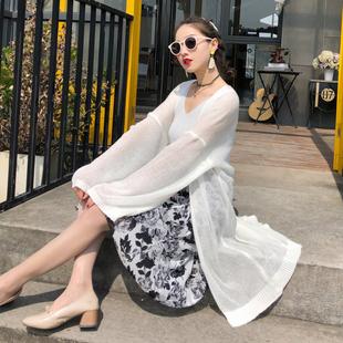 2021夏季女装韩版度假针织开衫空调防晒衣纯色中长款薄外套潮