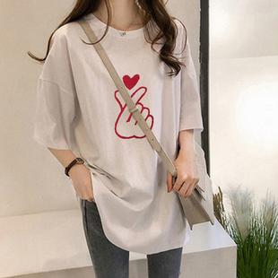 超火港味上衣女夏季2020韩版学生chic中长款宽松短袖t恤长衫