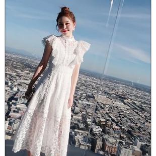 夏装白色超仙初恋裙复古中长款蕾丝连衣裙女聚会派对名媛礼服
