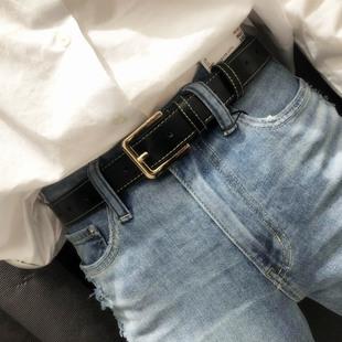 ins年轻人男女通用皮带 简约百搭潮流时尚学生宽裤腰带韩国黑