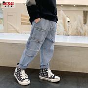 米西果童装男童裤子春秋款薄款儿童牛仔裤2021中大童韩版潮牌