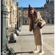 秋冬针织毛衣裙女装过膝连衣裙中长款羊毛打底裙长裙