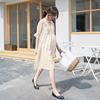 孕妇夏装连衣裙v领孕期雪纺短袖吊带两件套中长款纯色韩版夏季裙