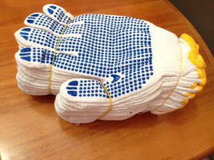 机器纱线手套劳保耐磨带胶胶皮胶点手套白纱维修防护开车汽修农用