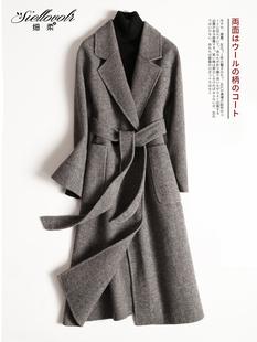 赫本风大衣女羊毛双面呢子外套女中长款2018秋冬季无羊绒