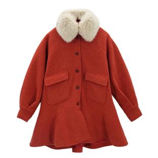珍珍家定制2018冬季毛领红色鱼尾边中长款毛呢外套呢子大衣女