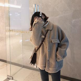 羊羔毛外套女短款2018冬装宽松皮毛一体加厚学生chic棉服
