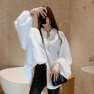 春装韩版大码女装胖mm衬衫女设计感小众上衣宽松灯笼袖衬衣打底衫