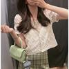 美美de的夏夏蕾丝拼接衬衫女短袖镂空网纱上衣设计感小众衬衣