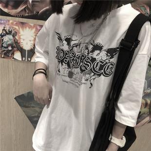 韩国复古超火梵文字母印花圆领上衣短袖T恤 男女款