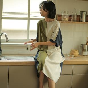 无谓亚麻连衣裙女2021夏季女装宽松半袖撞色拼接棉麻直筒裙子
