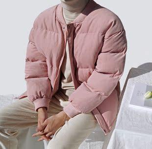 东大门韩国男装骚气粉色蓬松微阔棒球领秋冬棉服夹克外套18