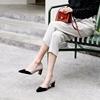 鹿与奈良春季女鞋高跟鞋粗跟气质性感撞色欧美复古英伦风真皮单鞋