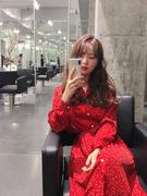 荷静gogo春装2019复古中长款雪纺长袖红色连衣裙女气质仙女裙