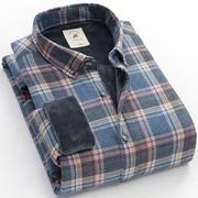 欧保罗冬季男士保暖衬衫加厚加绒牛津纺纯棉长袖青年格子衬衣