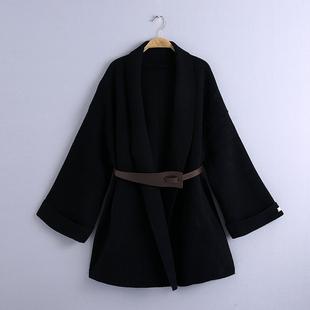 斗篷双面水貂绒大衣女 2020秋冬韩版系皮带宽松羊毛呢外套