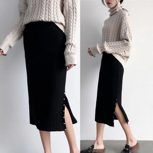中长款针织半身裙一步裙包臀裙女秋冬季高腰长裙加厚开叉毛线裙子