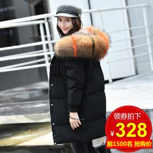 反季节2018冬季羽绒服女中长款韩国时尚大毛领潮