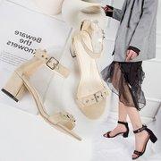 韩国网红夏季一字扣带粗跟chic中跟仙女鞋小清新高跟鞋