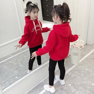 女童秋2014潮儿童套装洋气上衣大童加绒加厚保暖卫衣冬装