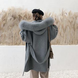 超大狐狸毛领连帽双面羊绒大衣女2018冬装中长款羊毛呢子外套