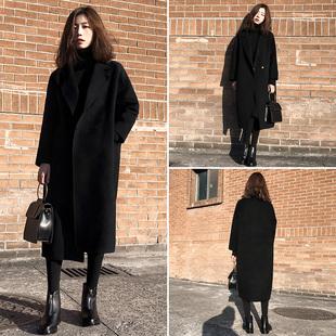 赫本大衣女2018冬装宽松加厚呢子中长款茧型黑色毛呢外套