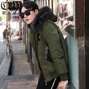 男士羽绒服短款2018冬季毛领连帽青年时尚加厚潮流外套男