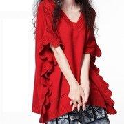 大红女装外套大码短款披肩蝙蝠衫慵懒风毛衣宽松套头针织反季