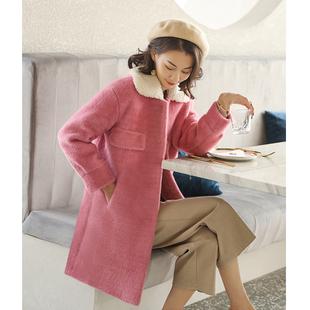 仿水貂绒外套女中长款小个子金貂绒 小清新加厚呢子大衣秋冬