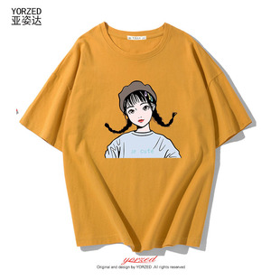 短袖T恤女夏天学生可爱bf风半袖宽松百搭T恤ins短款上衣