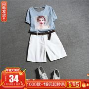 上衣配短裤两件套装夏小心机洋气俏皮网红小矮个子显瘦显高阔腿裤