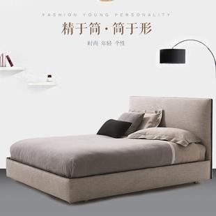 北欧简约现代布艺床1.8米双人主卧软床小户型布床 可拆洗储物婚床