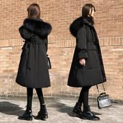 黑色羽绒服女中长款2018冬季宽松加厚白鸭绒大毛领外套潮