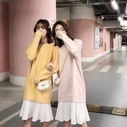 针织连衣裙女2019宽松圆领下摆拼接雪纺百褶假两件毛衣裙
