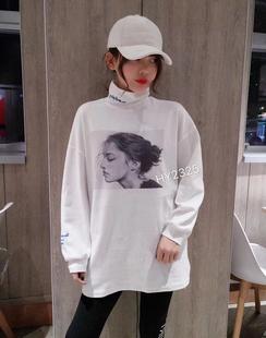 欧洲站高领刺绣字母长袖大T恤女秋冬中长款打底衫百搭上衣潮