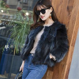 冬季狐狸毛皮草女士短款七分袖貉子真皮草外套女加厚