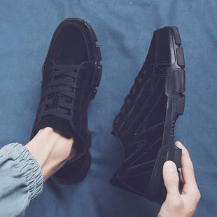 夏季防滑板鞋纯黑色男鞋子厨师鞋男上班鞋耐磨运动防油厨房工作鞋