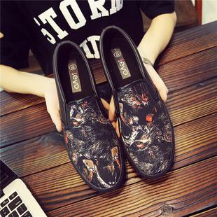 怪兽图案花布鞋男潮鞋夏季一脚蹬帆布鞋社会精神小伙男鞋