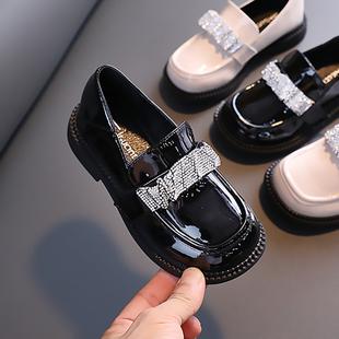 高档女童小皮鞋█品牌乐福大牌公主有带水钻气质漆皮单鞋韩版范儿